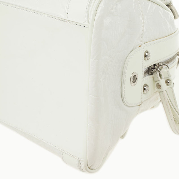Dolce and Gabbana White Patent Miss Easy Way Satchel