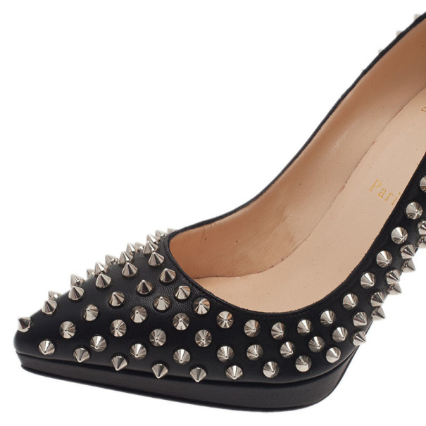 Christian Louboutin Black Pigalle Plato Spikes Pumps Size 39.5