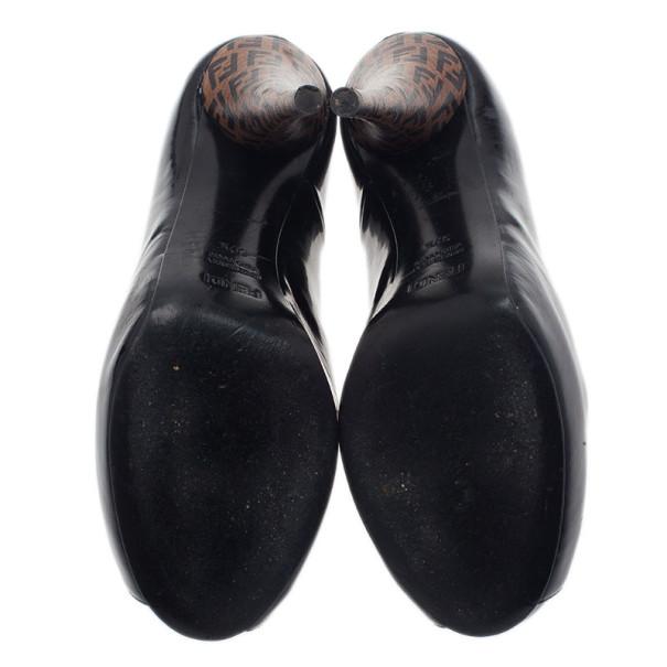 Fendi Black Patent Leather Zucca Print Heel Peep Toe Pumps Size 37.5