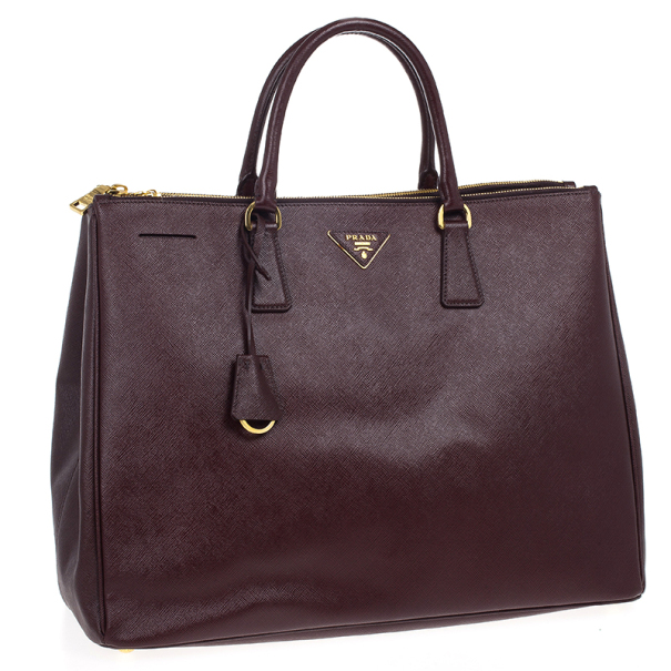 Prada Maroon Saffiano Lux Double-Zip Large Tote