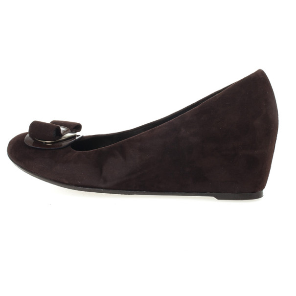 Stuart Weitzman Brown Suede Bow Wedges Size 39.5