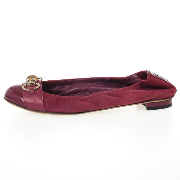 Gucci Magenta Cap Toe Bamboo Horsebit Ballet Flats Size 39