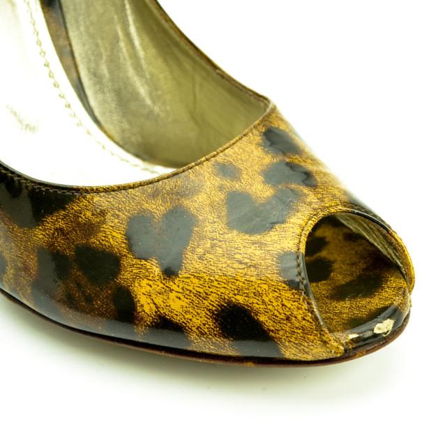 Dolce and Gabbana Leopard Print Peep Toe Pumps Size 39