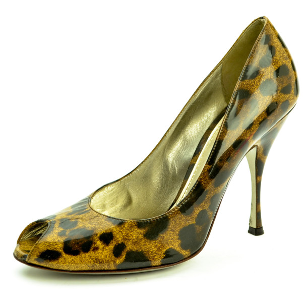 Dolce and Gabbana Leopard Print Peep Toe Pumps Size 39