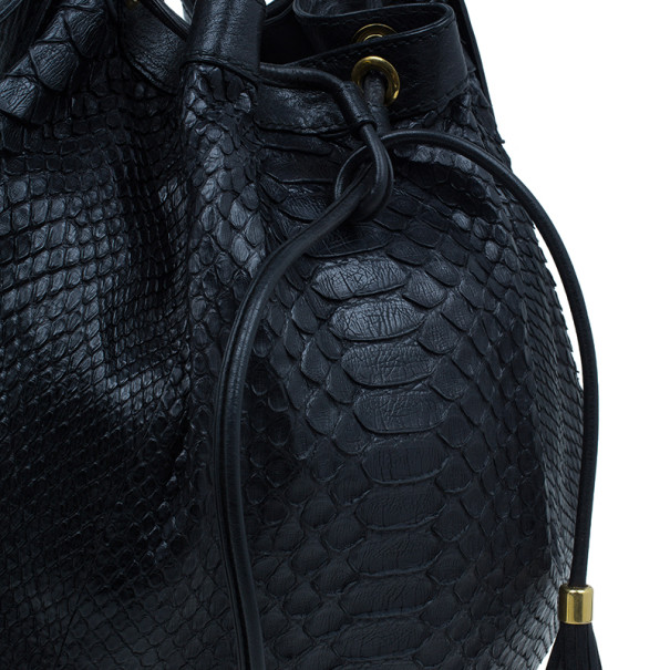 Gucci Black GG Python Medium Interlocking Icon Shoulder Bag