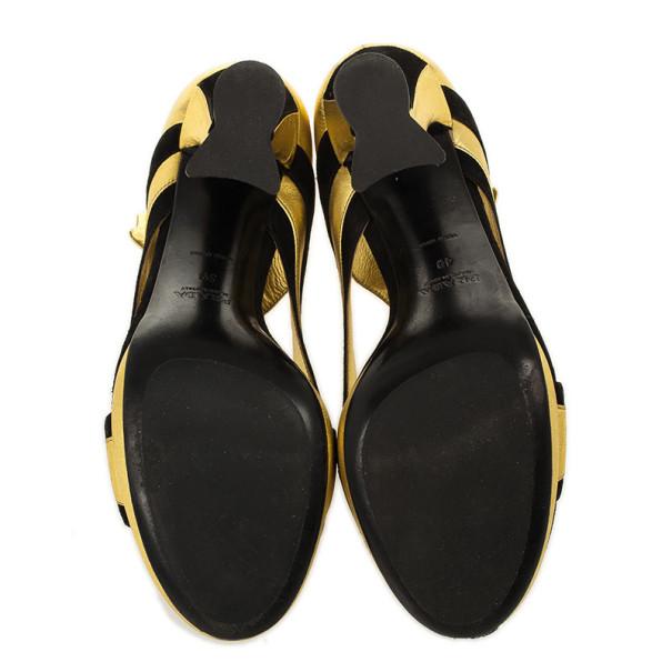 Prada Gold & Black Open Toe Sandals Size 39