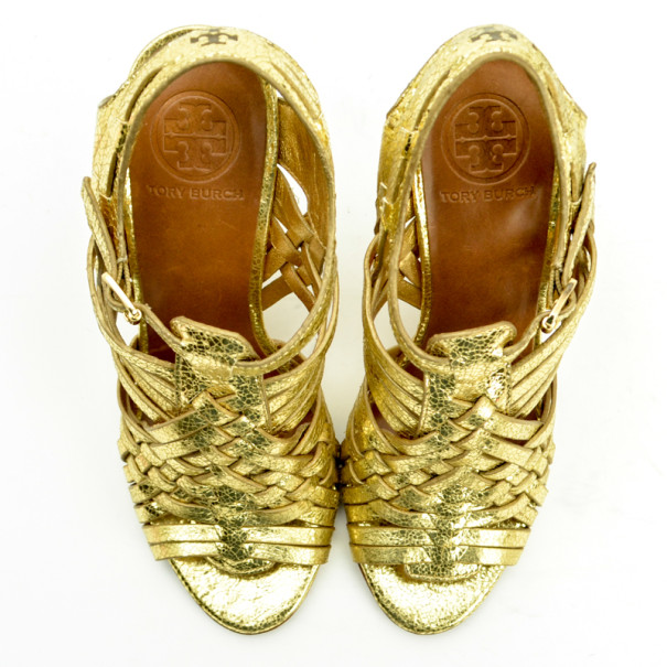 Tory Burch Gold Nadia Strappy Wedges Sandals Size 37.5
