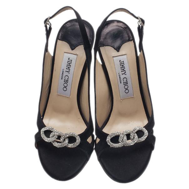 Jimmy Choo Black Suede Jeweled Slingback Sandals Size 36
