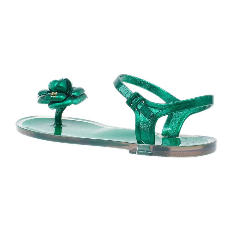 Chanel Green Flower Sandals Size 38
