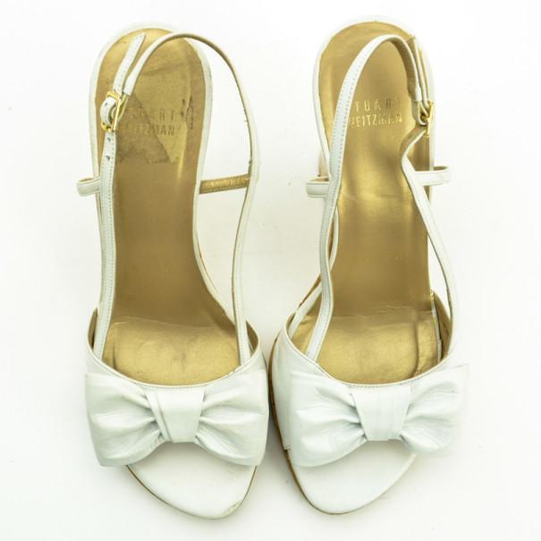 Stuart Weitzman White Leather Attire Cork Wedges Sandals Size 38.5