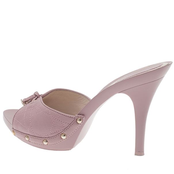 Dior Pink Cannage Leather Bow Slides Size 39.5
