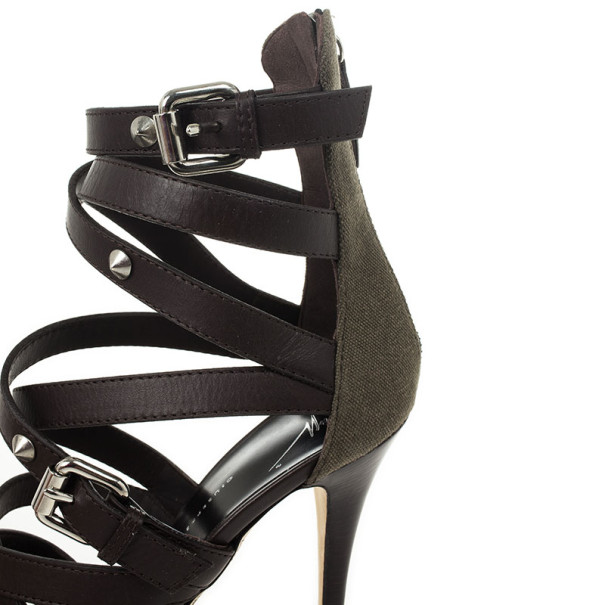 Giuseppe Zanotti Brown Strappy Leather Buckle Zip Sandals Size 39