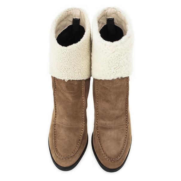 Tod's Beige Suede Lamb Fur Buckle Platform Ankle Boots Size 38