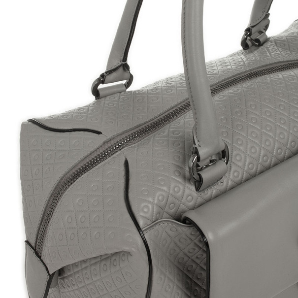 Tod's Grey Embossed Leather Signature Duffle Bag