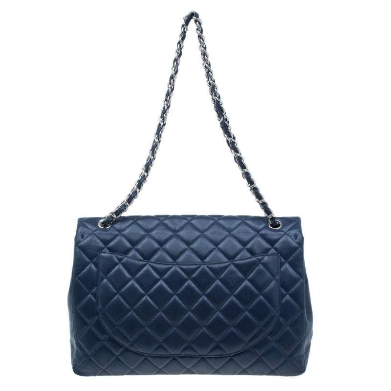 Chanel Navy Blue Lambskin Leather Quilted Classic Maxi Flap Bag