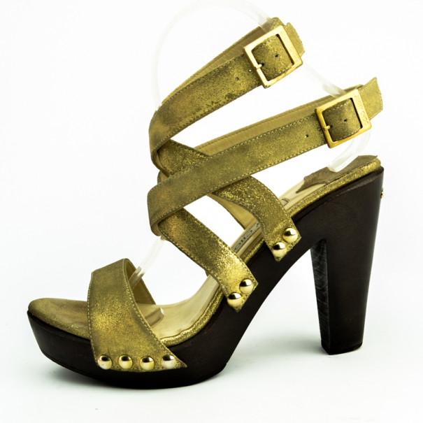 Jimmy Choo Gold Leather Unity Strappy Platform Sandals Size 40