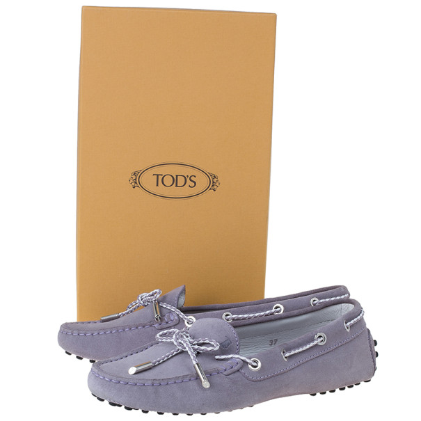 Tod's Lilac Suede Lace-up Driving Loafers Size 37