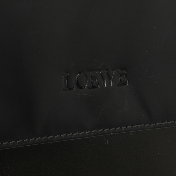 Loewe Satinless Steel Black Leather Top Handle Briefcase