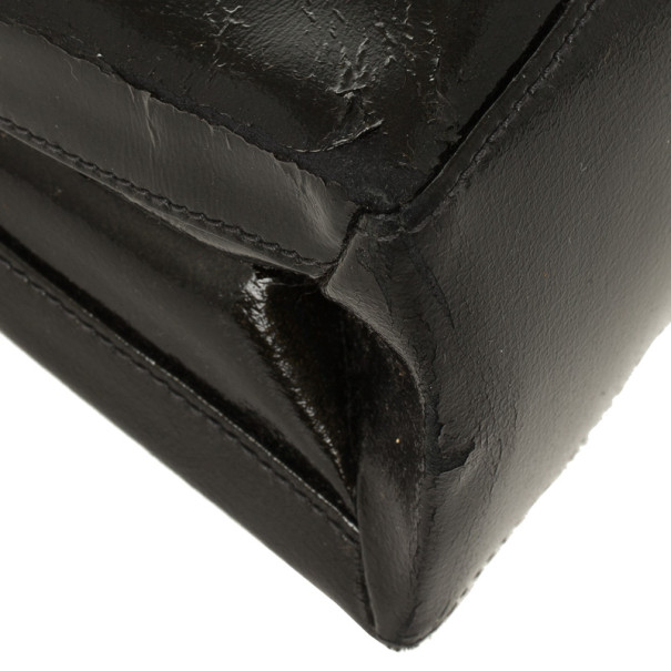 Loewe Satinless Steel Black Leather Top Handle Briefcase