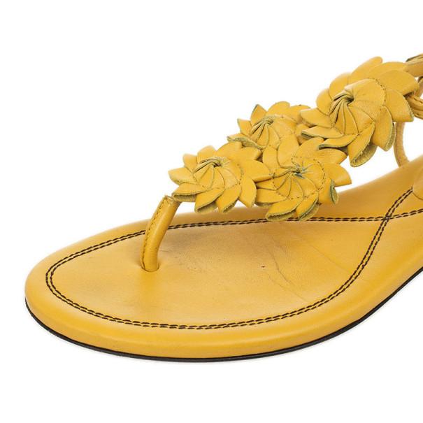 Bottega Veneta Yellow Leather Flower Cutout Sunset Flat Sandals Size 38.5