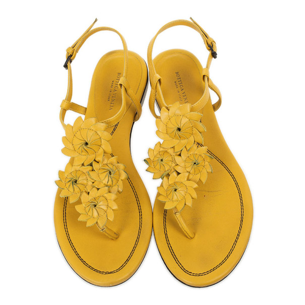 Bottega Veneta Yellow Leather Flower Cutout Sunset Flat Sandals Size 38.5