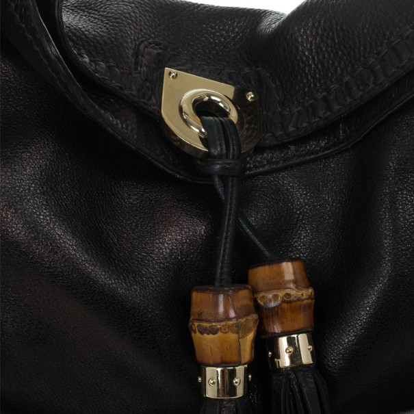 Gucci Black Leather Indy Top Handle Bag