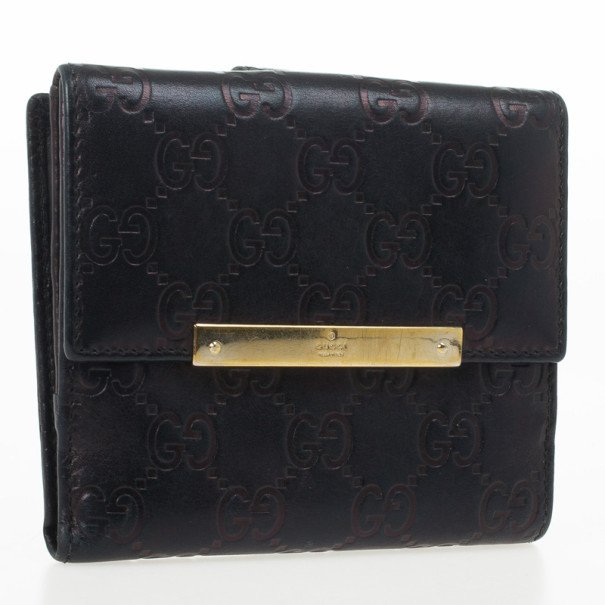 Gucci Metallic Dark Brown Guccissima Compact Wallet