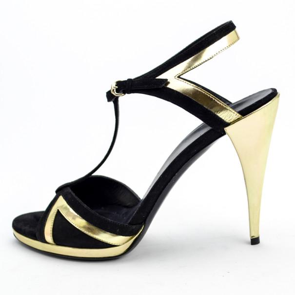 Gucci Black & Gold T Strap Sandals Size 41