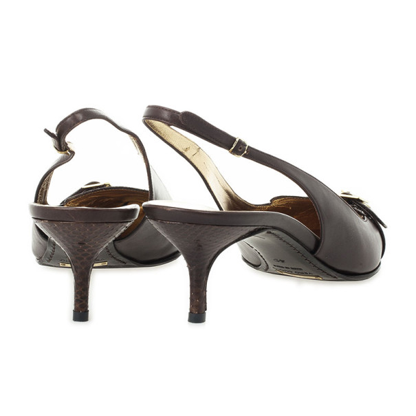 Dolce and Gabbana Brown Pointed Toe Embossed Leather Slingback Sandals Size 40