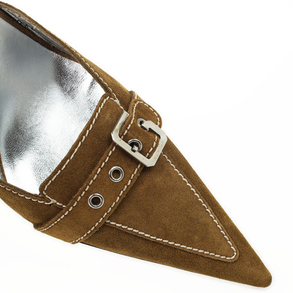 Dolce and Gabbana Brown Suede Buckle Mules Size 41