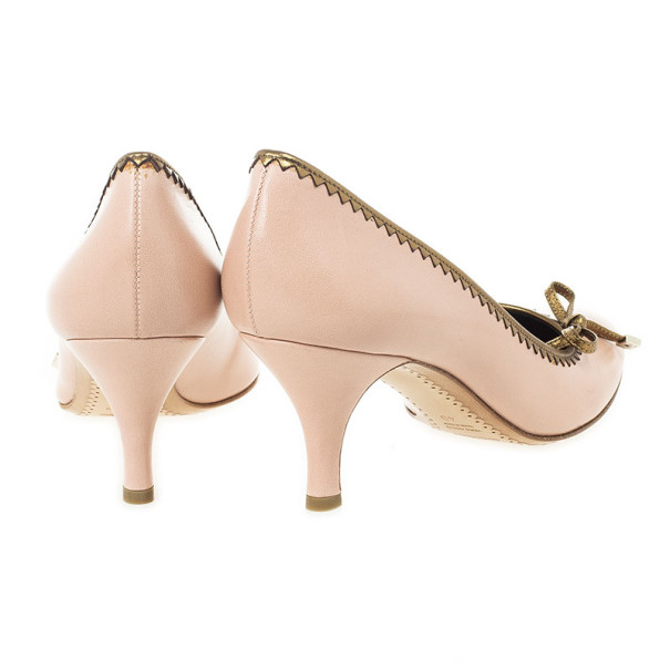 Sergio Rossi Pink Leather Bow Pumps Size 40