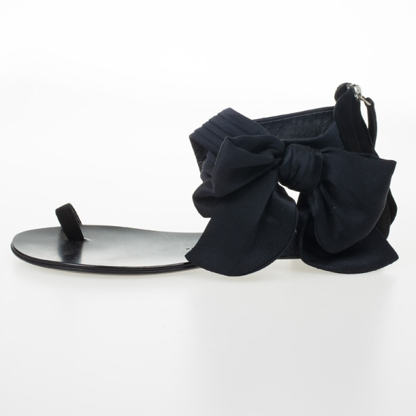 Giuseppe Zanotti Black Satin Toe Ring Bow Detail Flat Sandals Size 39.5
