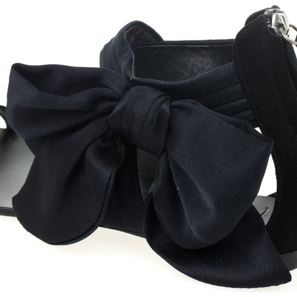 Giuseppe Zanotti Black Satin Toe Ring Bow Detail Flat Sandals Size 39.5