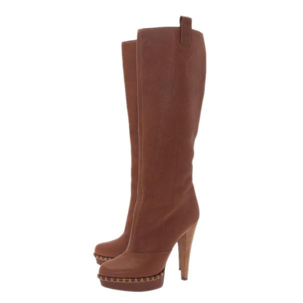 Saint Laurent Paris Brown Leather Platform Knee Boots Size 41