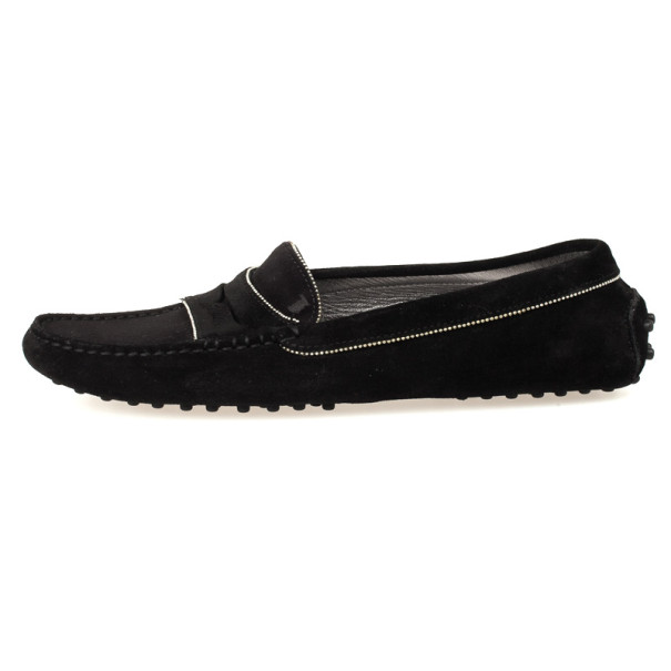 Tod's Black Suede Beaded Loafers Size 39