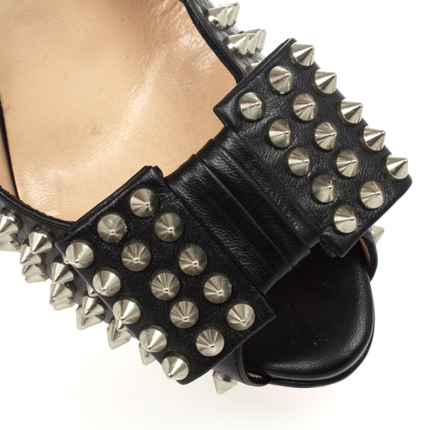 Christian Louboutin Black Clou Noeud 150 Studded Slingback Sandals Size 40