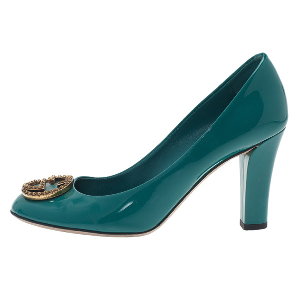 Gucci Blue Patent Interlocking Studded G Pumps Size 39