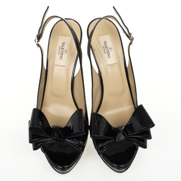 Valentino Black Patent 'Stylish' Bow Trim Slingback Platform Sandals Size 40
