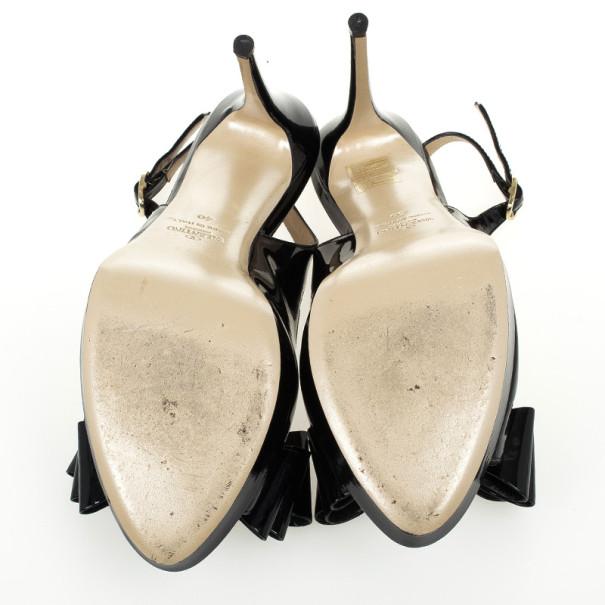 Valentino Black Patent 'Stylish' Bow Trim Slingback Platform Sandals Size 40