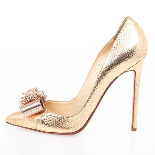 Christian Louboutin Gold Metal Knot Décolleté Pigalle Pumps Size 39.5