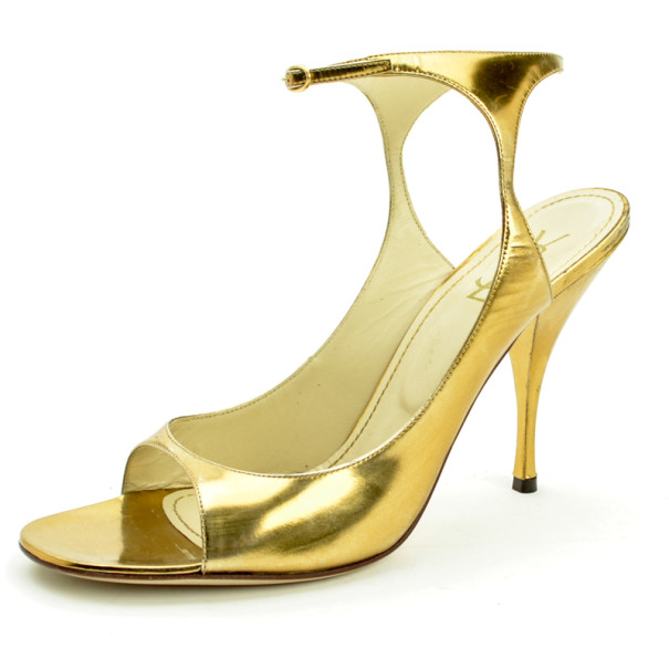 Saint Laurent Paris Gold Metallic Leather Ankle Strap Sandals Size 40