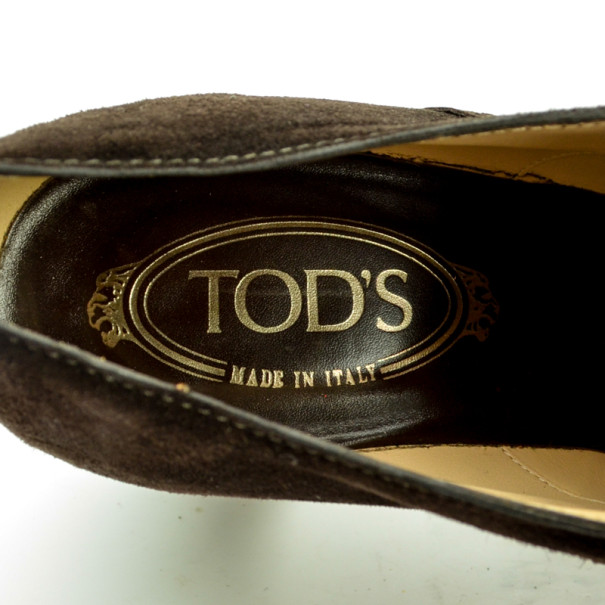 Tod's Brown Suede Brogue Oxford Shoes Size 39