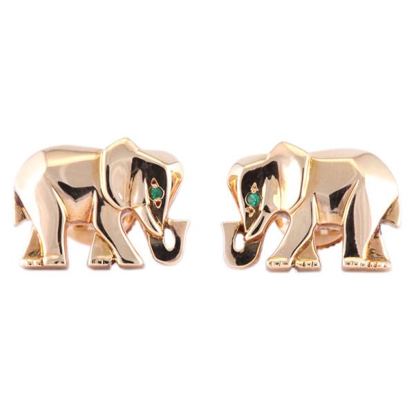 Cartier Elephant Emerald 18K Yellow Gold Stud Earrings