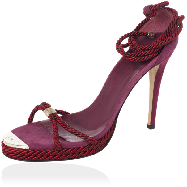 Gucci Pink Rope High Heel Sandals Size 41