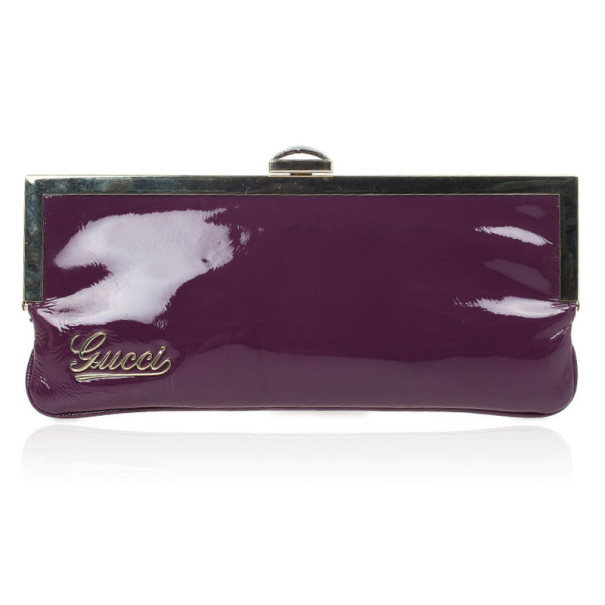 Gucci Purple Patent Framed Clutch