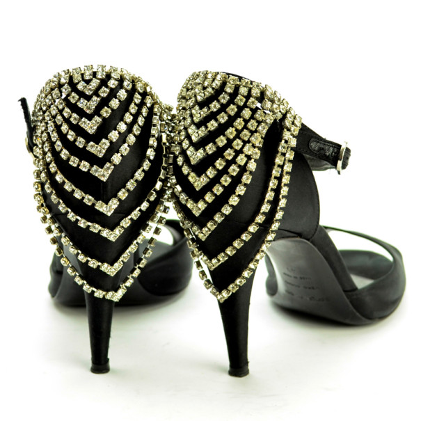 Sergio Rossi Black Satin Diamante Studded Ankle Strap Sandals Size 41