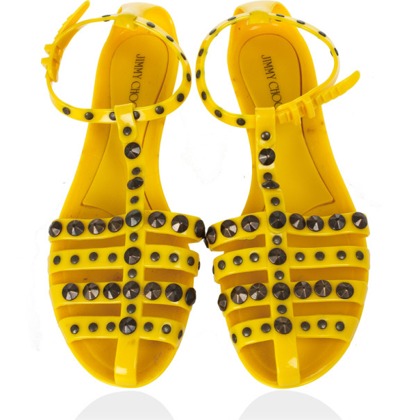 Jimmy Choo Yellow Studded Rubber Gladiator Sandals Size 41