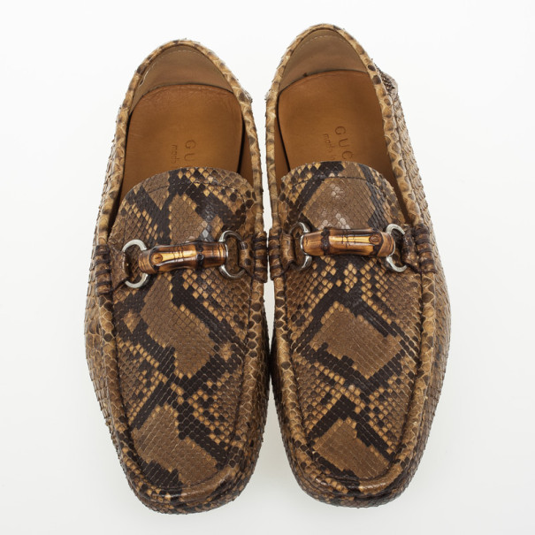 Gucci Python Moccasin With Bamboo Horsebit Size 42
