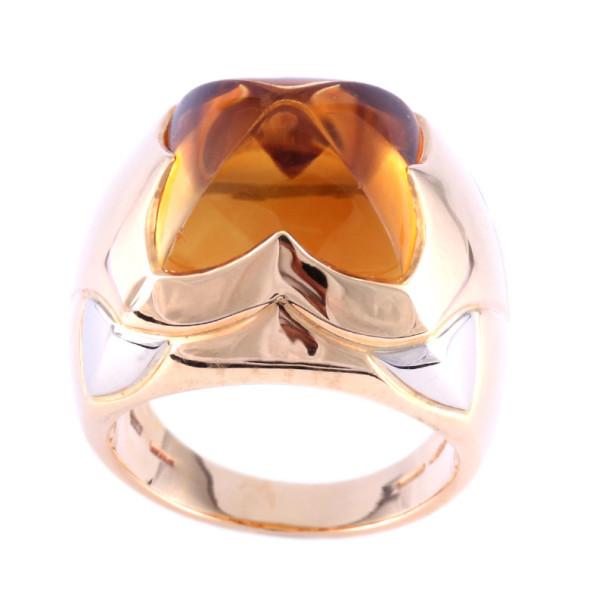 Bvlgari Vintage Pyramid Citrine 18k Yellow Gold Ring Size 52
