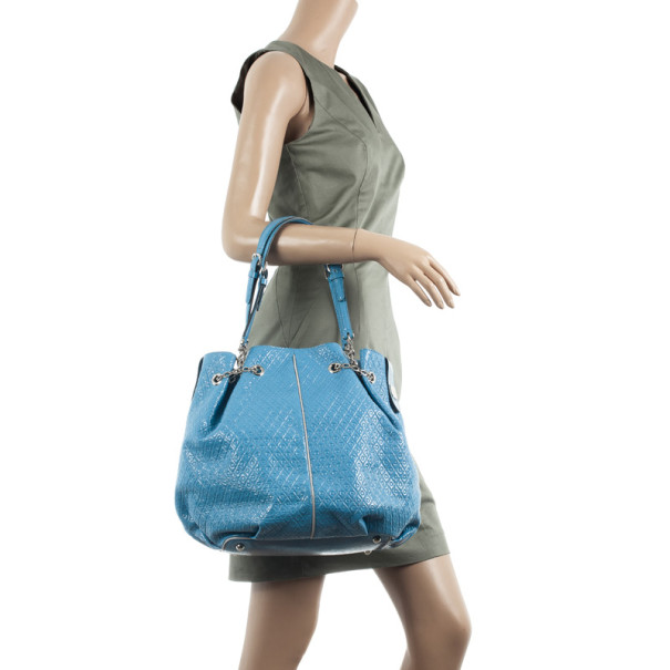 Tod`s Signature Blue Patent Leather Tote Bag